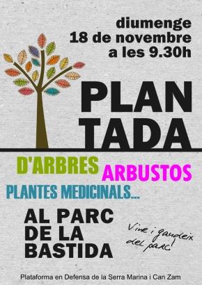 Plantada d'arbres, arbustos i plantes medicinals al Parc de laBastida