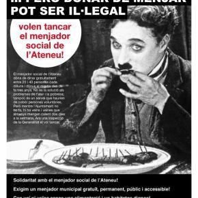 MANIFEST EN SOLIDARITAT AMB EL MENJADOR SOCIAL DE L'ATENEU I PER DEMANAR UN MENJADOR PÚBLICMUNICIPAL